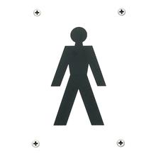 Orbis Sign - Male Symbol 150x100x1.5mm - Polished Anodised Aluminium