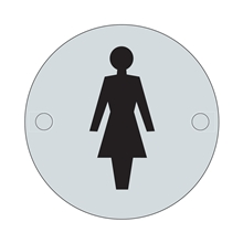 Orbis Sign - Female Symbol 75mm Dia - Satin Stainless Steel