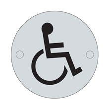 Orbis Sign - Disabled Symbol 75mm Dia - Satin Stainless Steel