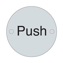 Orbis Sign - Push 75mm Dia - Satin Stainless Steel