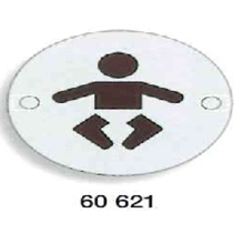 Orbis Sign - Baby Change Symbol 75mm Dia - Satin Stainless Steel