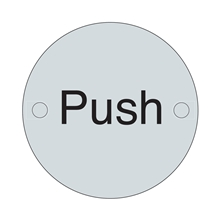 Orbis Sign - Push 75mm Dia - Satin Stainless Steel